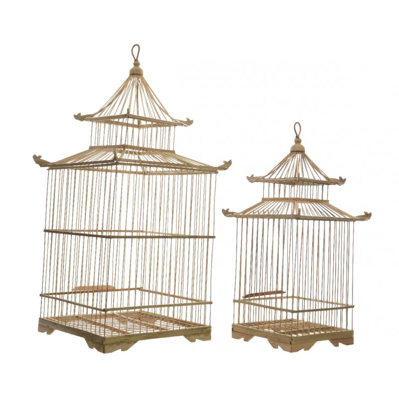 0CAGE OISEAU DECORATIVE BAMBOU NATUREL 30X70