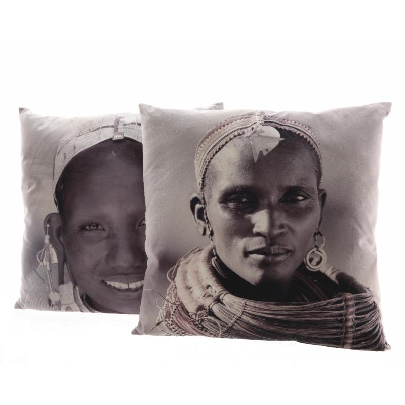 0COUSSIN VELOURS POLY AFRIC 2AS 45X45CM GRIS