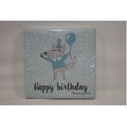 SERVIETTE PAPIER HAPPY BIRTHDAY VERT 25CM