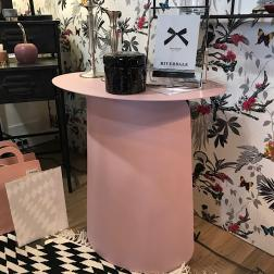 TABLE APPOINT ROSE ACIER 60X40X65