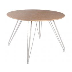 TABLE BOIS FRENE A/PIEDS FER DIA110X75CM NATUREL